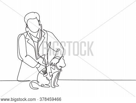 Single Continuous Line Drawing Of Young Male Veterinarian Examining And Take Care Of A Sick Cat Beca