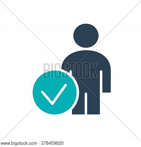 User With Tick Checkmark Colored Icon. Human Verification, Authentication Symbol