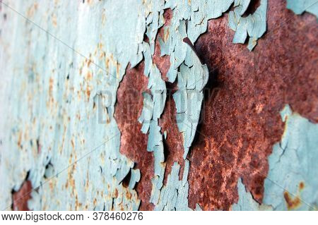 Light Blue Rust Metal Decayed Crumpled Sheet Wide Background. Weathered Iron Rusty Isolated Metallic