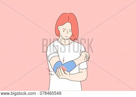 Health, Care, Medicine, Pain, Trauma Concept. Young Unhappy Woman Girl Cartoon Character Holding Mas