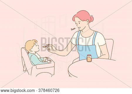 Motherhood, Childhood, Food, Family Concept. Young Woman Mom Cartoon Character Feeding Child Kid Son