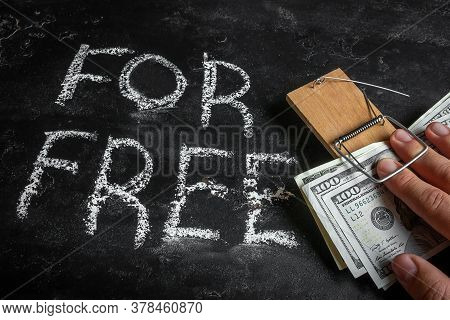 Hand With Money Trapped. Borrow Money, Credits, Loans