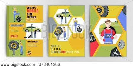 Vector Automotive Brochure Template. Mobile Tire Service Backgrounds For Portrait Poster, Digital Ba