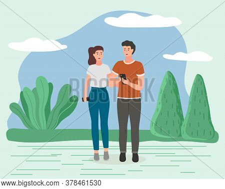 Couple Walking In A Park. Young Guy And Girl Holding Hands Walking In Summer Garden, Romantic Walk.