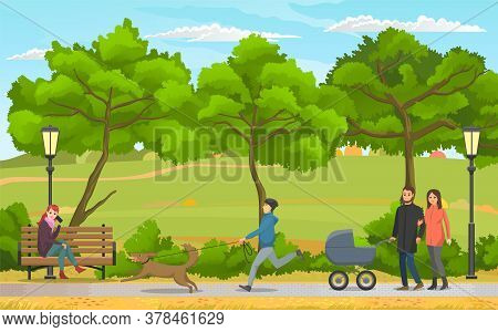 People On A Walk In Autumn City Park. Happy Young Family With A Baby In Stroller, Girl Sitting On A