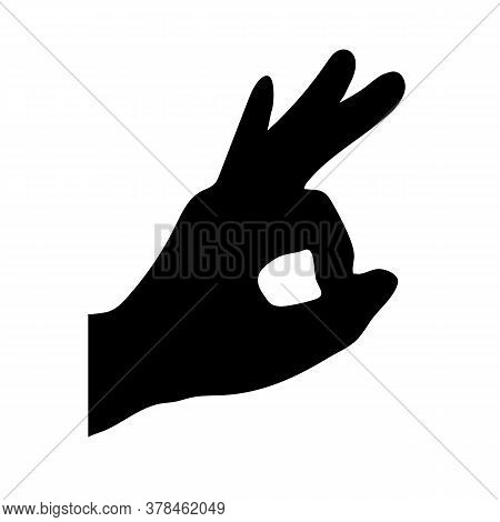 Black Silhouette Of The Hand With The Ok Sign On A White Background. Easily Scalable Vector Illustra