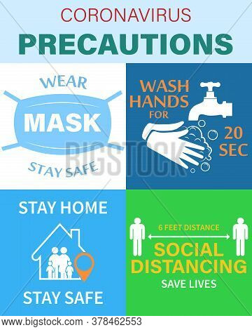 Prevention Of Coronaviruses.. Protection From Covid-19. For A Set Of Colored Stickers, Put On A Mask