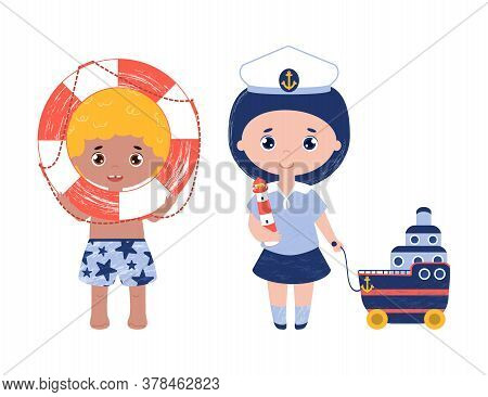 Isolated Vector Objects, Boy Holds The Life Buoy And Girl With The Lighthouse And Cruise Liner. Best