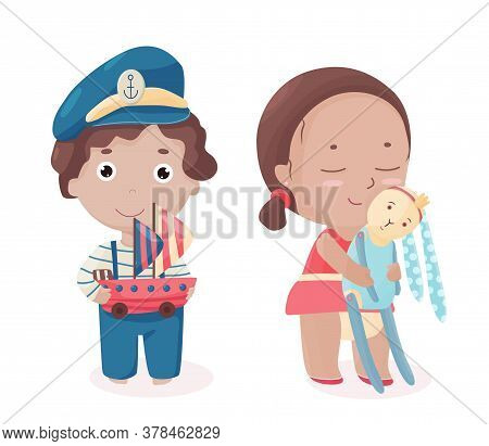 Happy Boy In Sailor Suit And Captain Hat Hold Toy Ship. Smiling Girl Hugs Her Soft Rabbit. Brother A