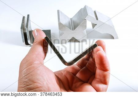 Tools And Equipment For Bending Sheet Metal. Sheet Metal Bending Product In Hand. Bend Tools, Press