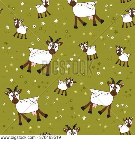 Vector Seamless Pattern With Goats  In  The Meadow. Loop Pattern For Fabric, Textile, Posters, Gift