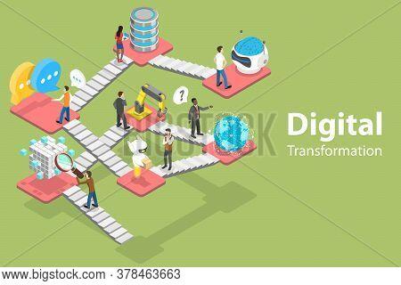 3d Isometric Flat Vector Conceptual Illustration Of Digital Transformation.