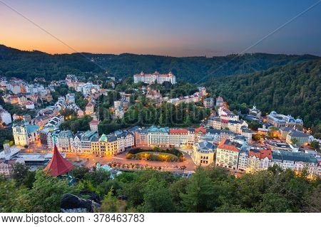 Karlovy Vary, Czech Republic. Aerial Image Of Karlovy Vary (carlsbad), Located In Western Bohemia At