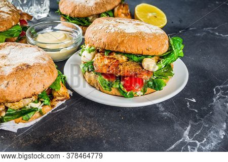 Various Seafood And Fish Burgers Assortment. Homemade Healthy Burger With Grilled Prawn, Salmon, Tun