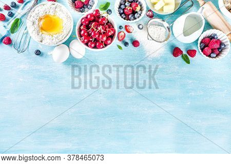 Berry Cake Baking Recipe. Summer Cooking Baking Background With Assorted Berries, Baking Ingredients