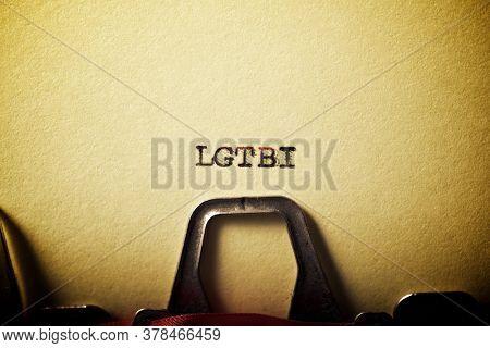 LGBTI word written with a typewriter.