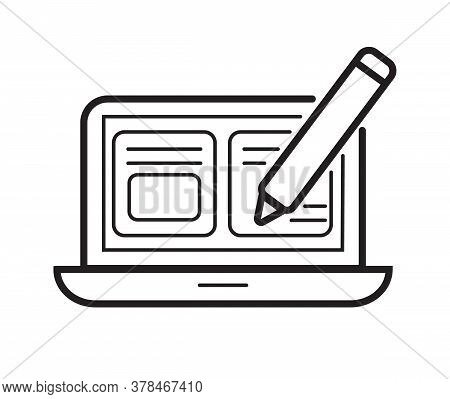 Blog, Blogging Icon Vector. Universal Writer, Copy Writing Icon To Use In Web And Mobile Ui. Website