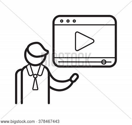 Video Blogger Symbol In Outline Style. Blogging Icon Vector To Use In Web And Mobile App. Video Cont