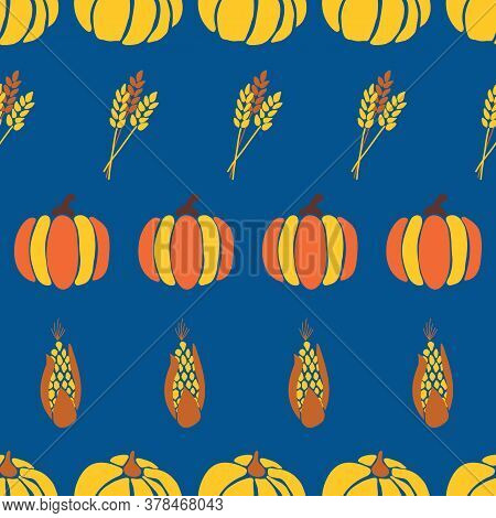 Autumn Vector Background Maize Plant, Crop And Pumpkins On Blue Background. Seamless Repeating Vecto
