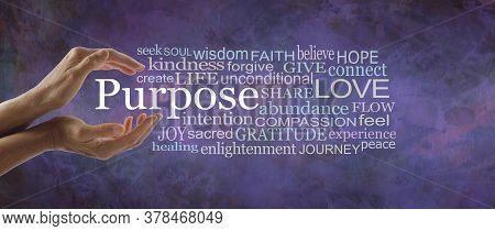 Life Purpose Wise Words Tag Cloud - Female Hands Cupped Around The Word Purpose Beside A Relevant Wo