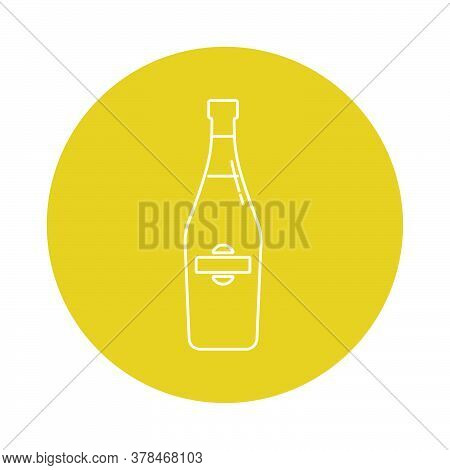 Illustration Of Bottle Of Champagne In Flat Style In Form Of Thin Lines. In The Form Of Background I