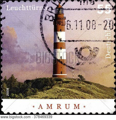 02 09 2020 Divnoe Stavropol Territory Russia The Postage Stamp Germany 2008 Lighthouses Amrum Built