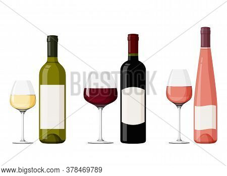 Colorful Glass Wine Bottles With Wineglasses. Realistic Vector Illustration. Red, White And Pink Win