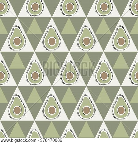 Vector Vegetables Avacados On White And Green Triangles Seamless Repeat Pattern. Background For Text
