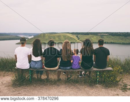 The group of friends are observing the beautiful nature