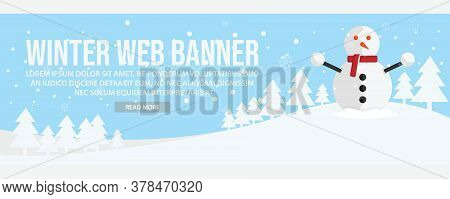 Winter Landscape Web Banner Template Design