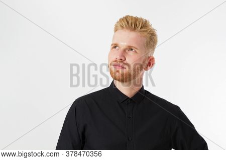 Man Thinking, Red Hair Man Serious Thinking Pensive Portrait In Studio Isolated Over White Backgroun