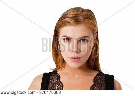 Beautiful Woman Face On White Background Copy Space