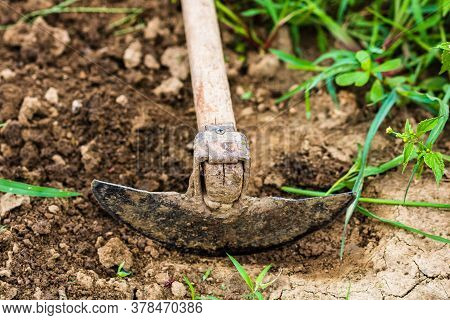 Close Up Of Hoe Tool For Digging Isolated In Garden On The Ground.