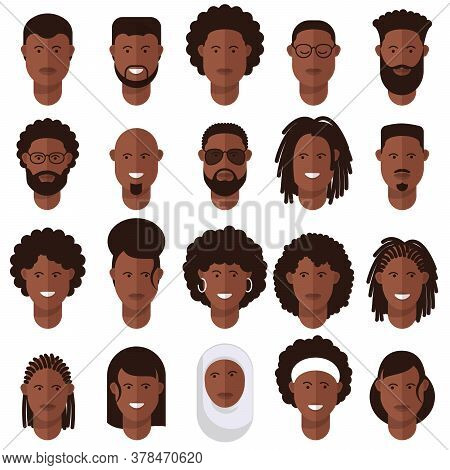 Avatar Icon Set Isolated On White Background. Black African And Afroamerican Faces, Man And Woman, Y