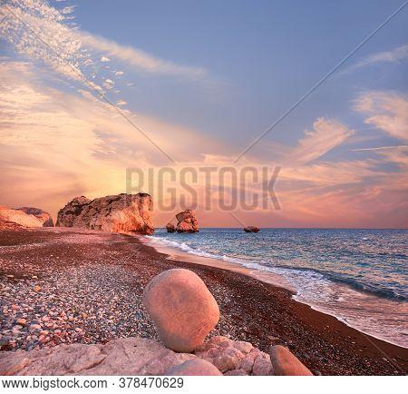 Rock Aphrodite Near Petra Tou Romiou In Cyprus, Paphos. Panoramic Image Of Famous Cyprus Landmark On