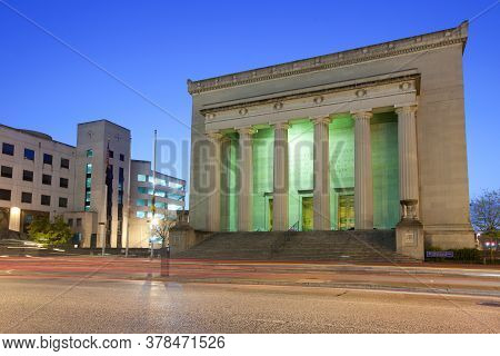 Baltimore, Maryland, United States - April 25, 2011: View At Dawn Of The War Memorial Building.