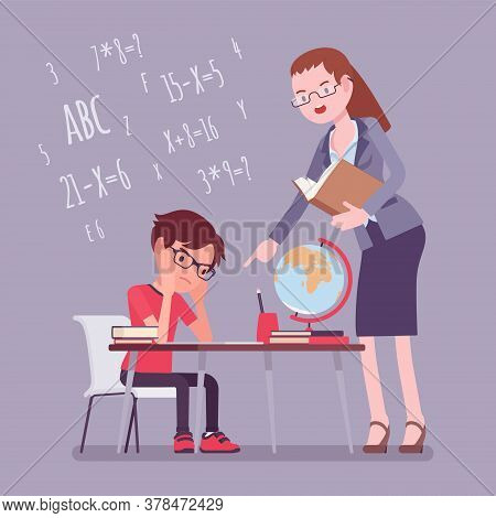 Female Teacher And Boy Student. Unhappy Child Studying Under Strict Control, Bored Single Pupil Doin