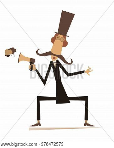 Man, Megaphone And News Isolated Illustration. Cartoon Mustache In The Top Hat Man With Megaphone Ma