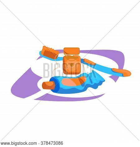 Tools For Dental Hygiene Flat Color Vector Object. Toothbrush With Paste. Floss For Teeth. Dentistry