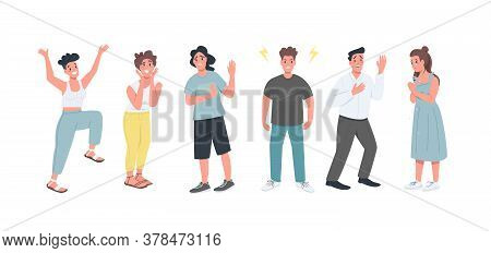 Different Feelings Flat Color Vector Detailed Character Set. Men And Women With Various Face Express