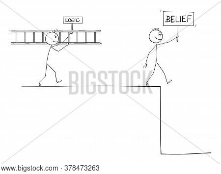 Vector Cartoon Stick Figure Drawing Conceptual Illustration Of Man With Faith Or Belief Hoping In He