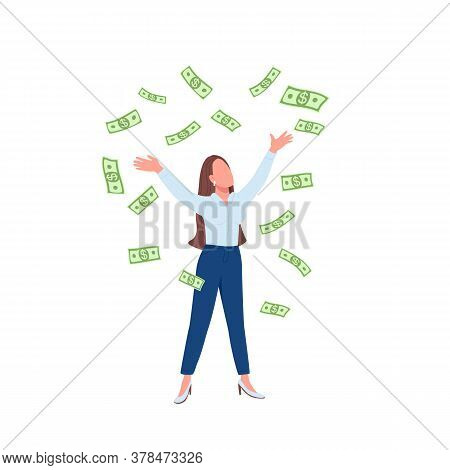 Business Woman Throwing Cash Up Flat Color Vector Faceless Character. Successful Lady. Financial Ach