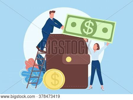 People Filling Wallet With Money Flat Concept Vector Illustration. Man And Woman Making Savings. Bus