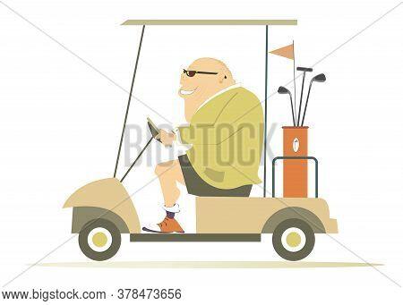 Comic Golfer Man In The Golf Cart Illustration. Cartoon Smiling Fat Bald-headed Man In Sunglasses Is