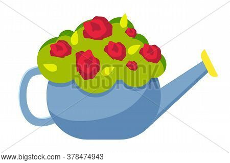 Watering Can Vase With Flowers Concept Isolated On White Background. Red Flowers In Vase Vector Flat