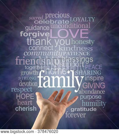 Family Matters Word Tag Cloud - Female Open Palm Hand With The Word Family Floating Above Surrounded