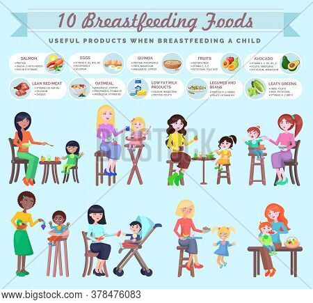 Breastfeeding Foods For Mothers Menu. Useful Products When Breastfeeding Child. Mix Races Young Wome
