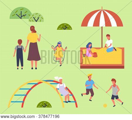 Children Spending Time At Playground. Kids Have Fun, Recreation Outdoors At Summer. Mother With Son