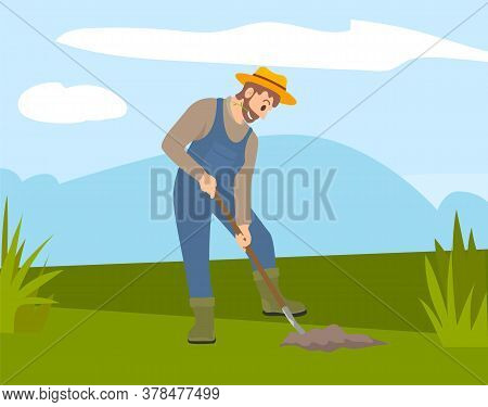 Man With Shovel Digging A Hole Illustration. Man Digs A Hole In The Ground For Planting Trees. A Wor