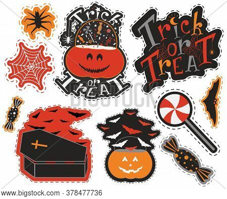 Halloween Sticker Pack With Bats Pumpkin Coffin And Sweets. Nice Graphic Items In Party Mood. Hand D
